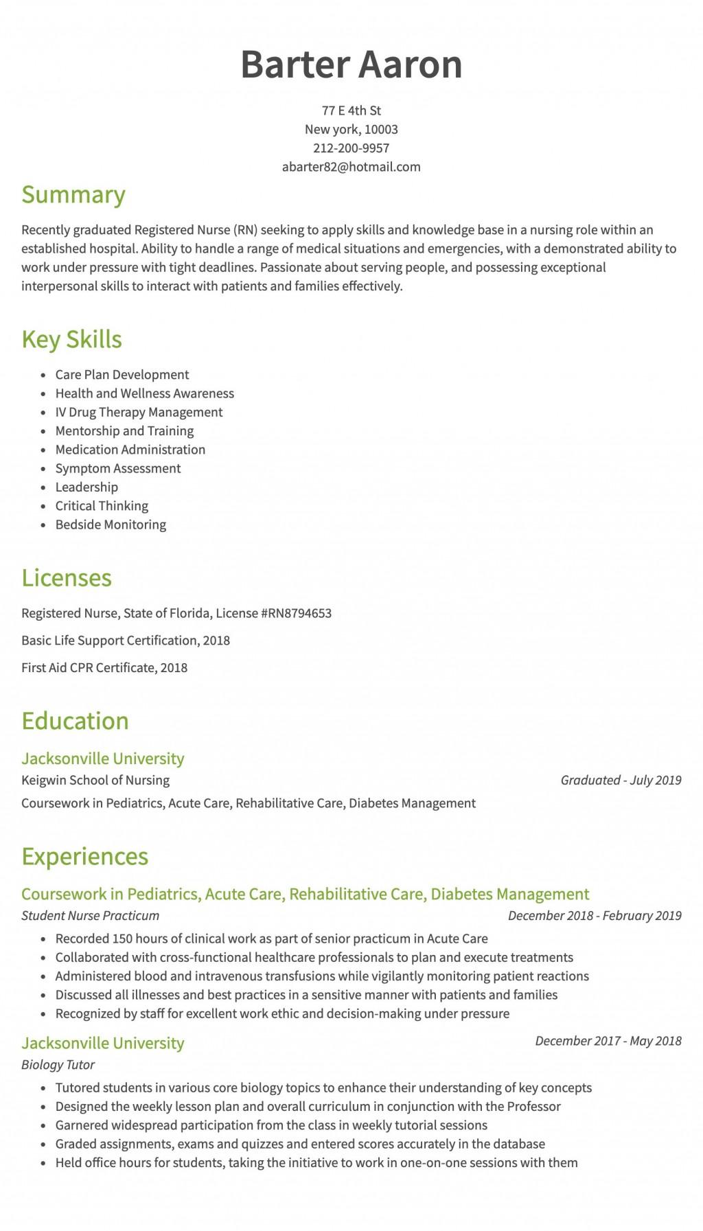 007 Striking Rn Graduate Resume Template High Resolution  New Grad NurseLarge