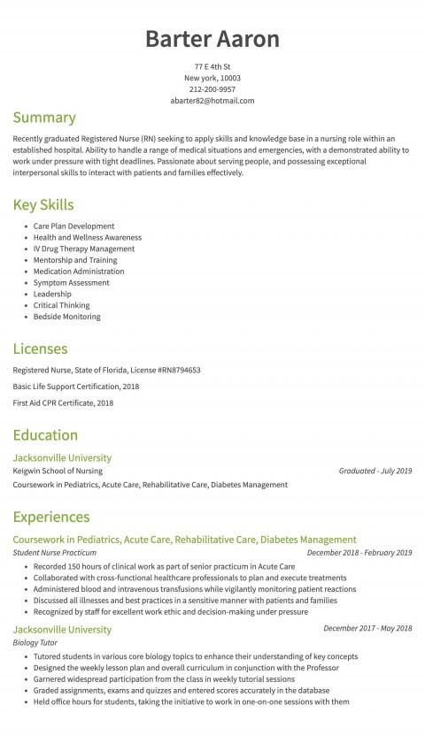007 Striking Rn Graduate Resume Template High Resolution  New Grad Nurse480