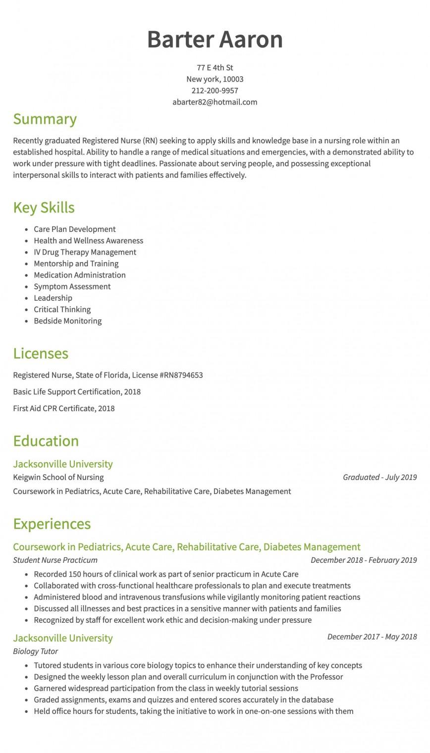 007 Striking Rn Graduate Resume Template High Resolution  New Grad Nurse868