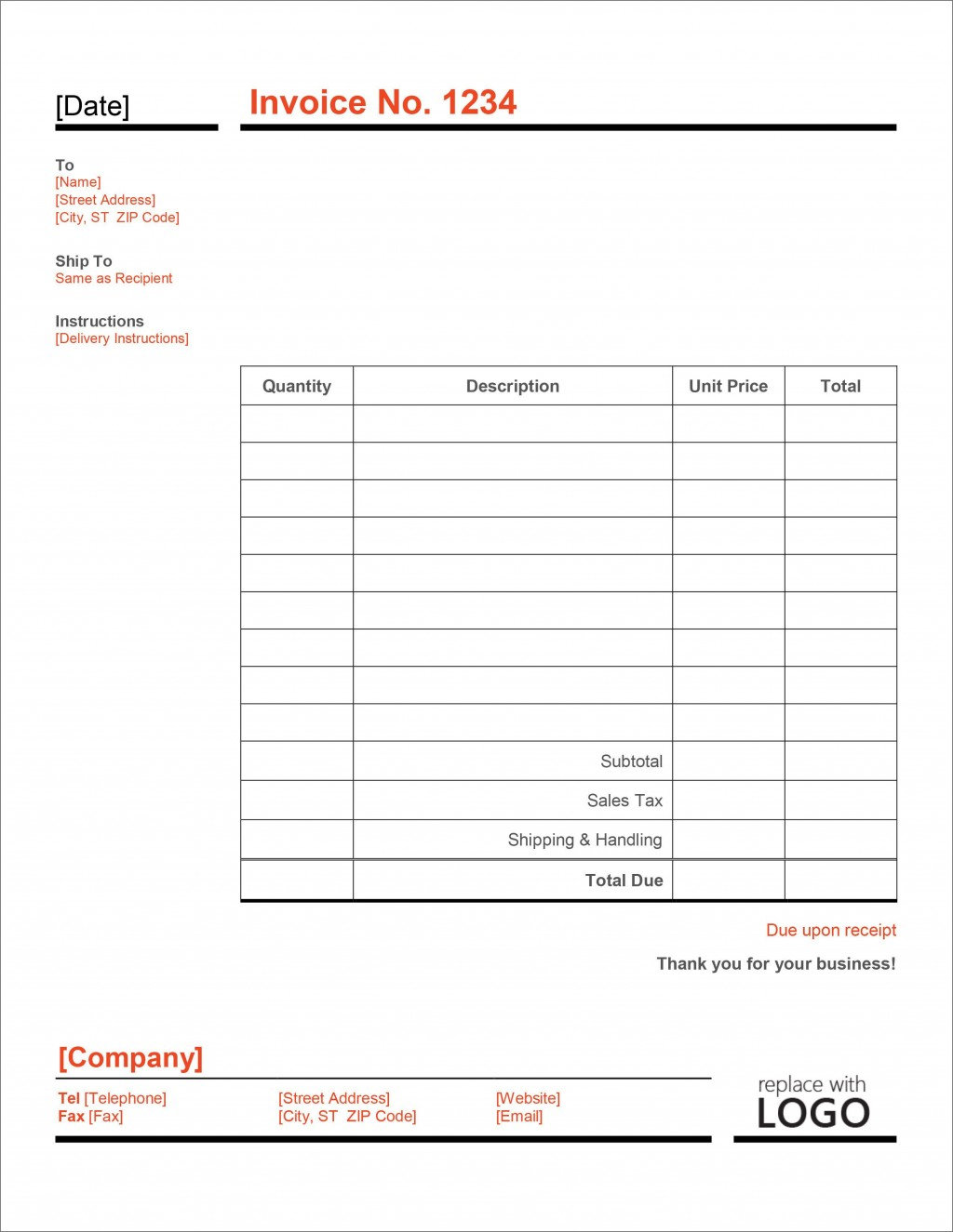 007 Striking Simple Invoice Template Excel Download Free Concept Large
