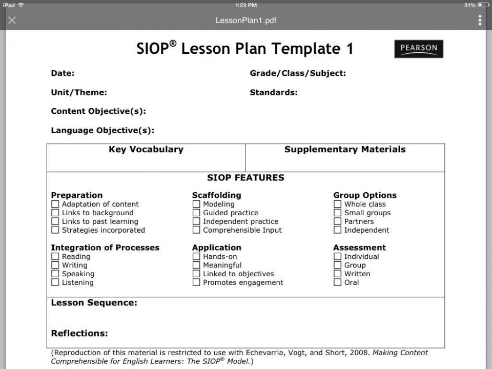 007 Striking Siop Lesson Plan Template 1 Highest Clarity  Example First Grade Word Document 1st960