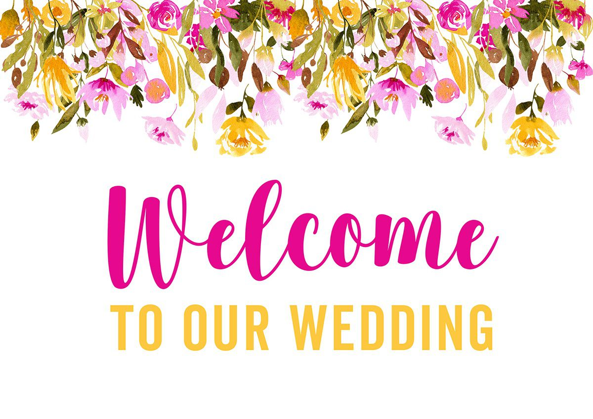 007 Striking Wedding Welcome Sign Printable Template Design  FreeFull