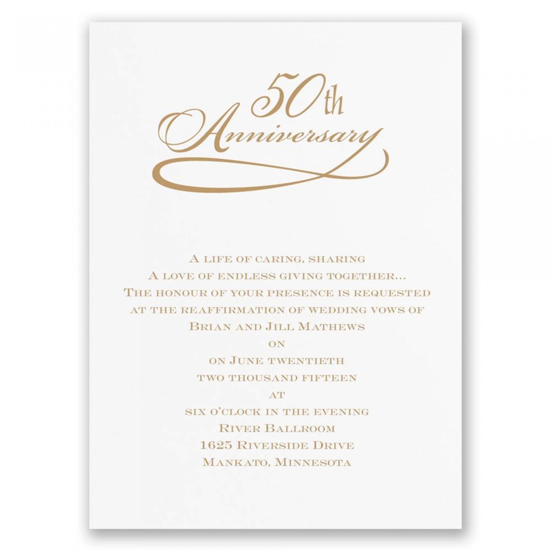 007 Stunning 50th Anniversary Invitation Wording Sample Highest Clarity  Samples Wedding Card1920