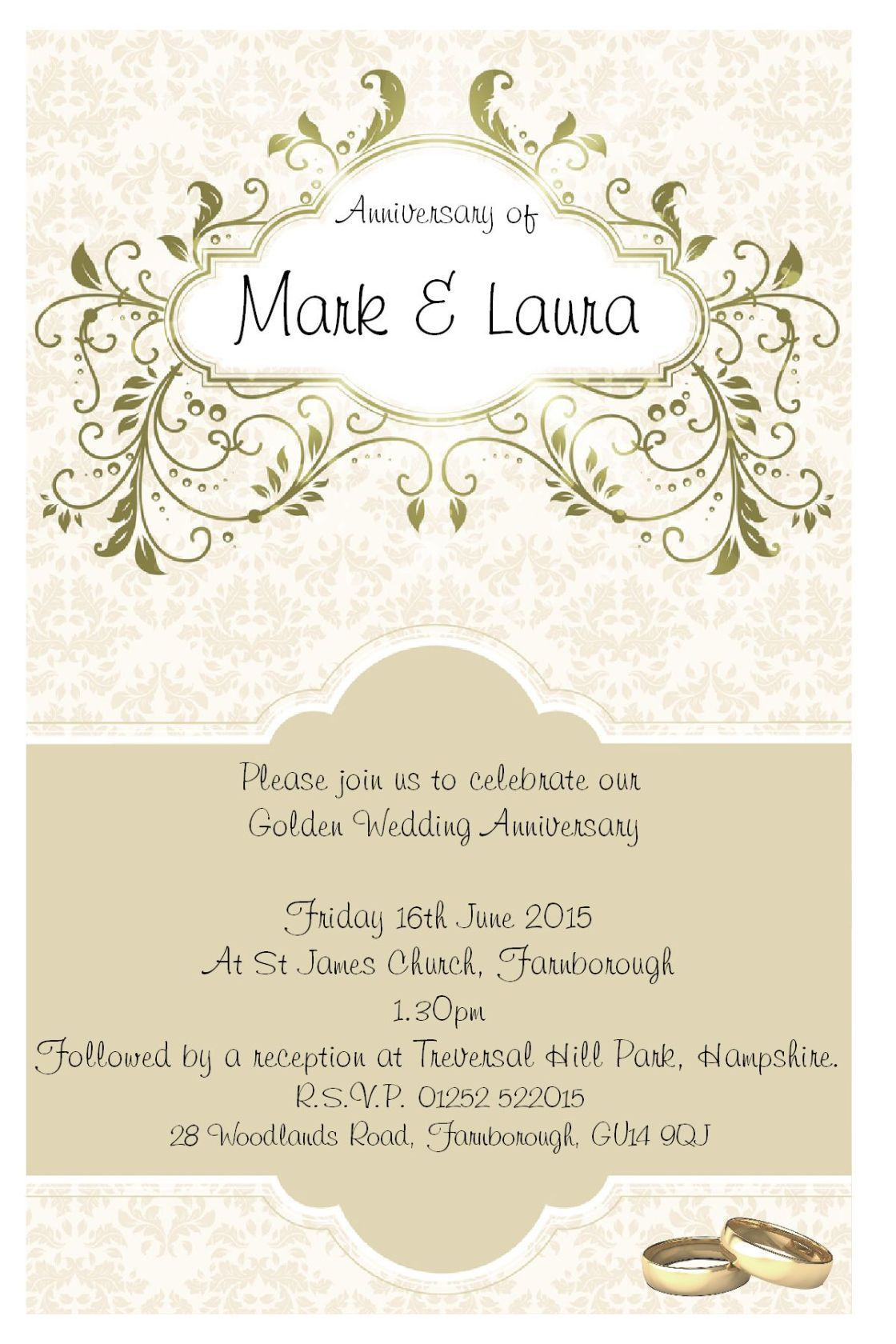 007 Stunning 50th Wedding Anniversary Party Invitation Template Sample  Templates FreeFull