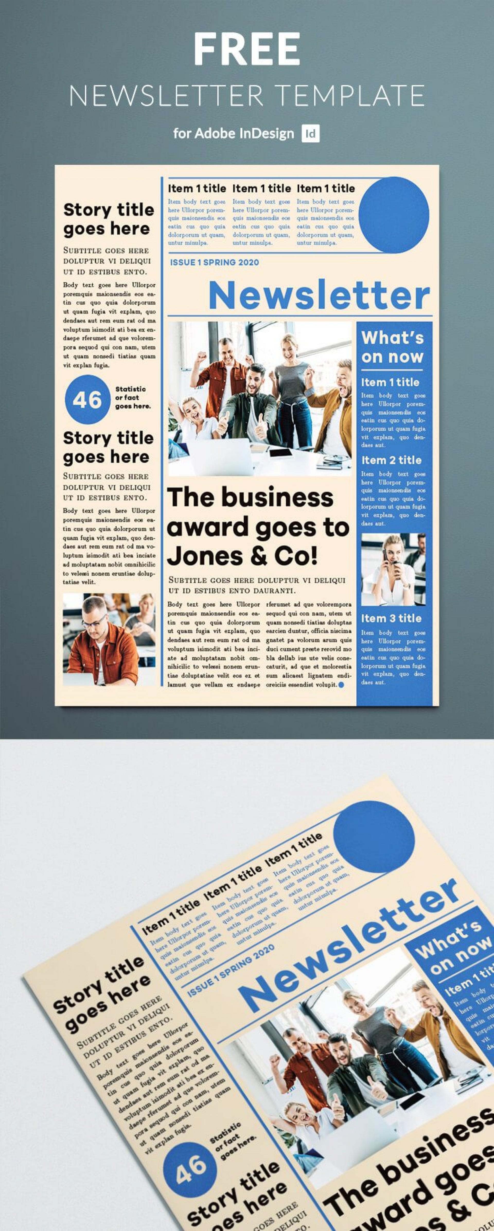 007 Stunning Adobe Indesign Newsletter Template Free Download Inspiration 1920