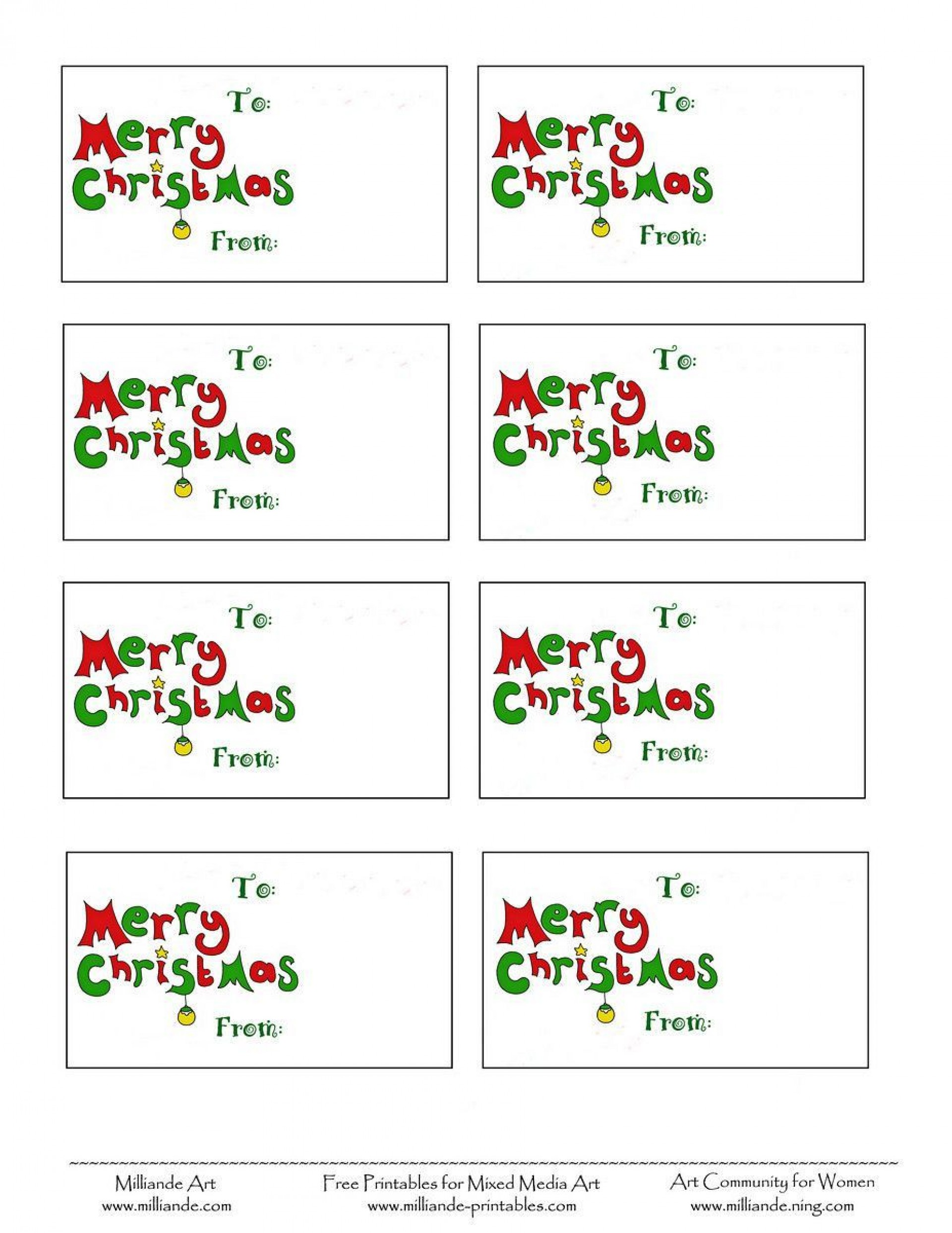 007 Stunning Christma Label Template Free Highest Clarity  Present Gift Tag Editable Mailing1920