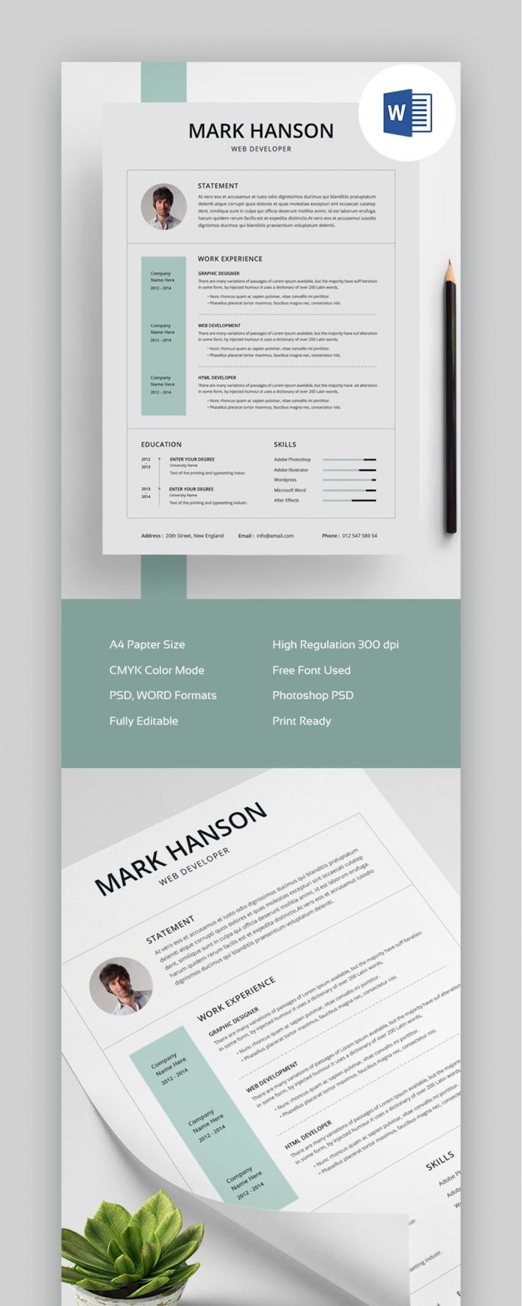007 Stunning Creative Cv Template Photoshop Free Design Large