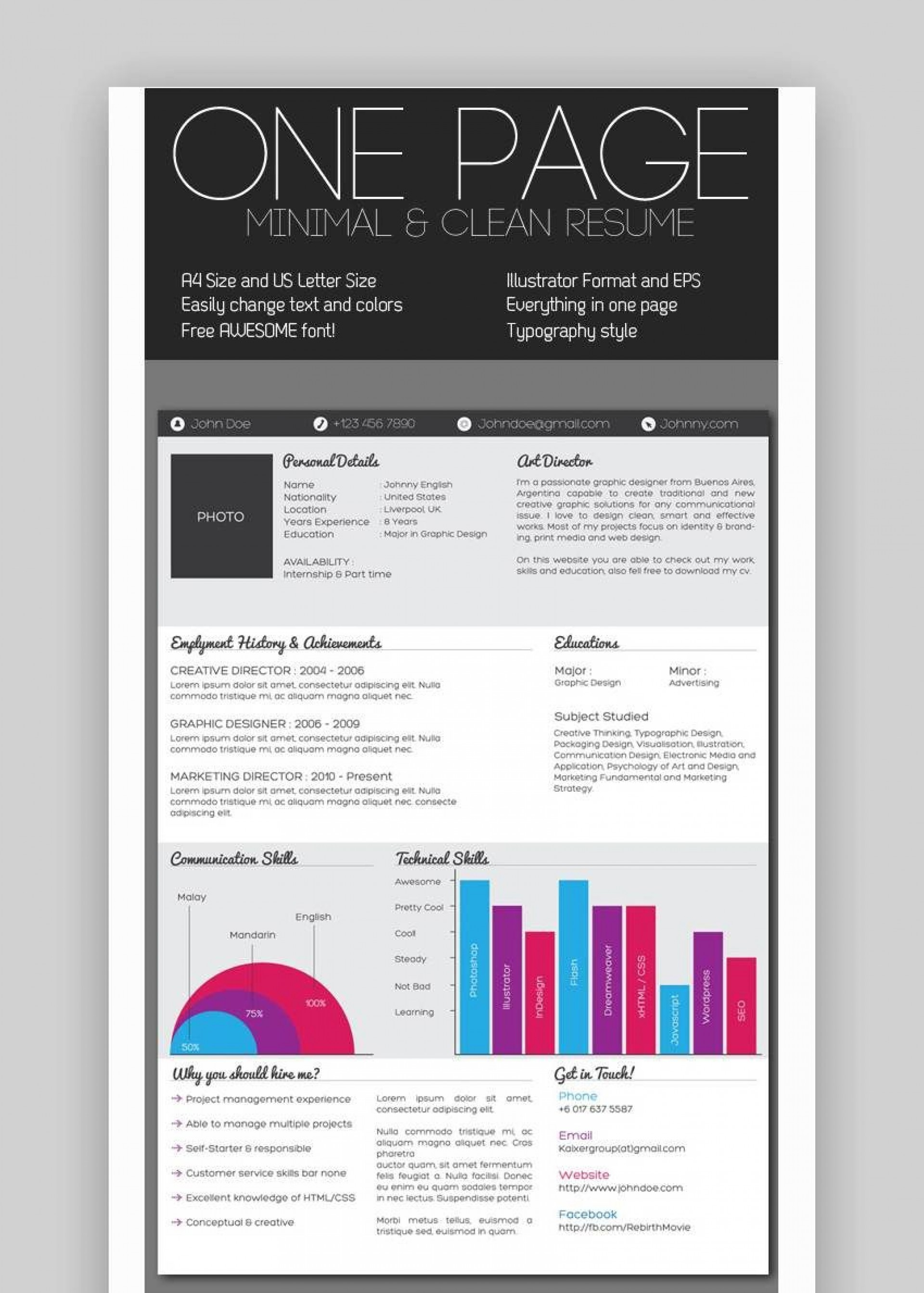 007 Stunning Free One Page Resume Template Concept  Word Download 2018 Best1920