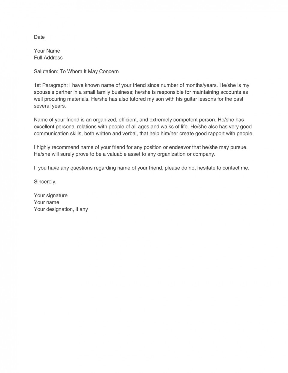 007 Stunning Free Reference Letter Template Download Highest Clarity 960