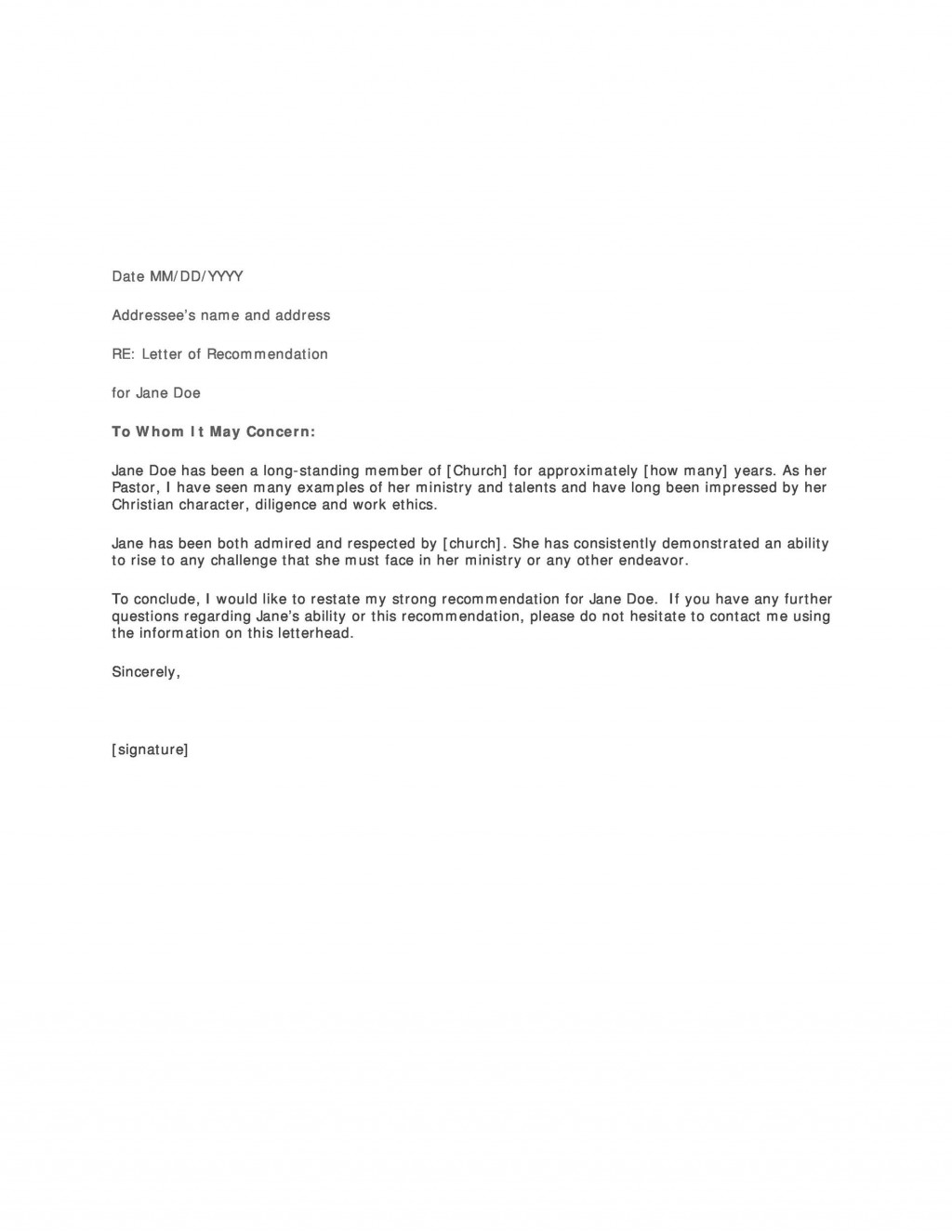 007 Stunning Letter Of Recommendation Template Word Picture  General Free DocLarge