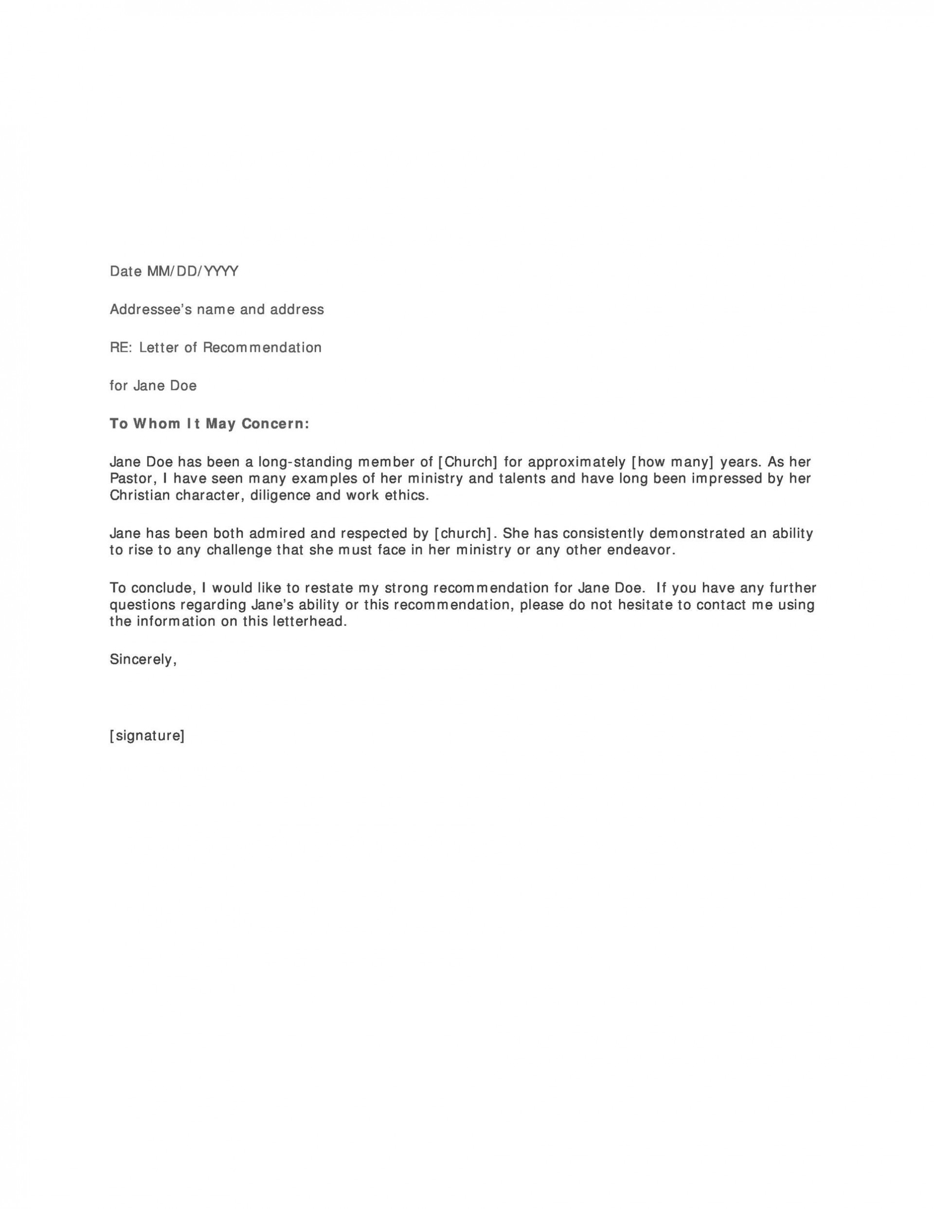 007 Stunning Letter Of Recommendation Template Word Picture  General Free Doc1920