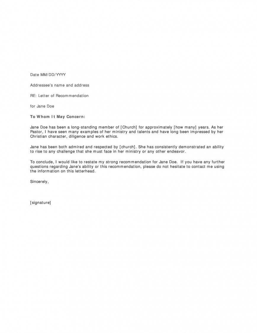 007 Stunning Letter Of Recommendation Template Word Picture  Free Uk