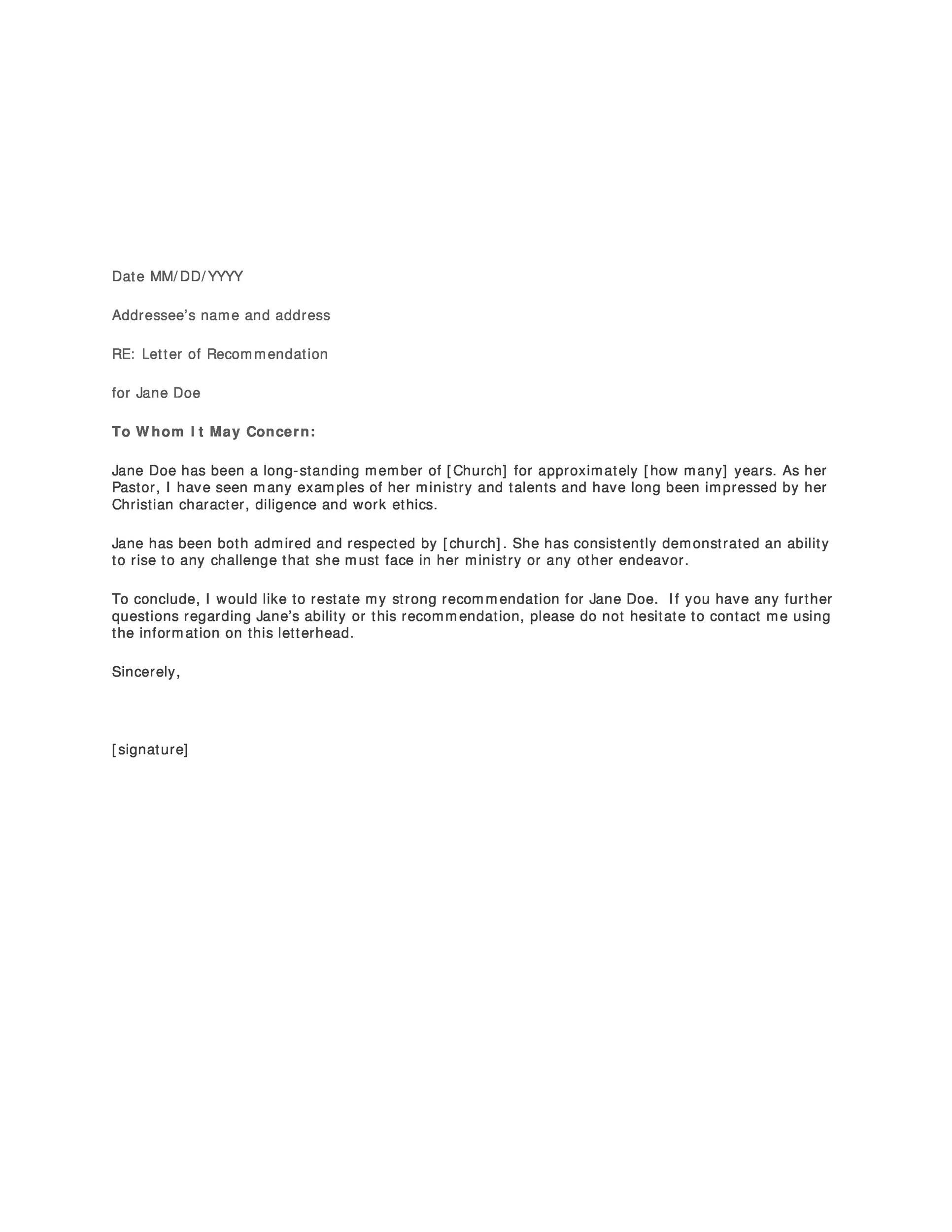 007 Stunning Letter Of Recommendation Template Word Picture  General Free DocFull