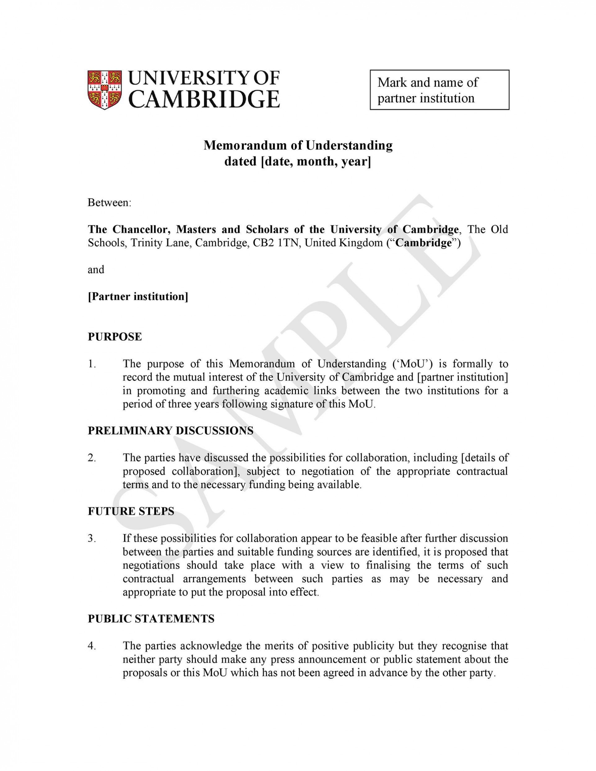 007 Stunning Letter Of Understanding Sample Example  Samples Template Word1920