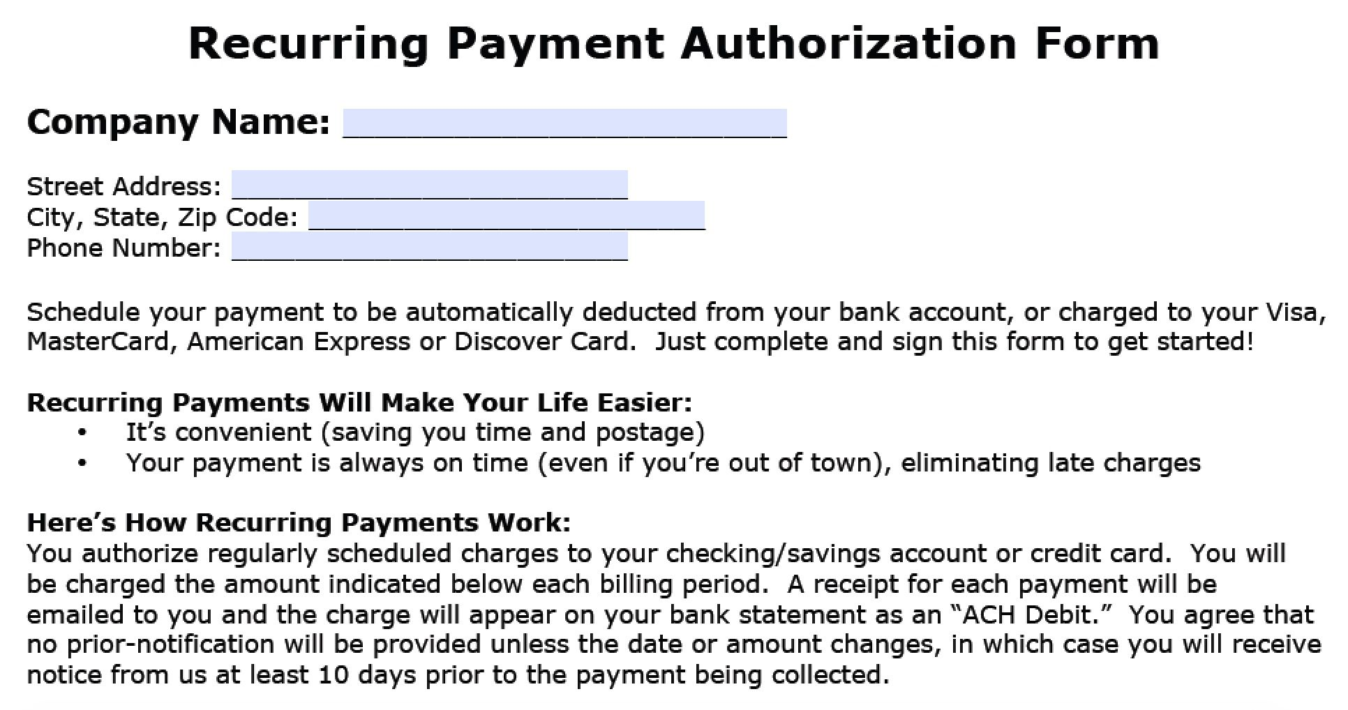 007 Stupendou Automatic Credit Card Payment Authorization Form Template Sample Full