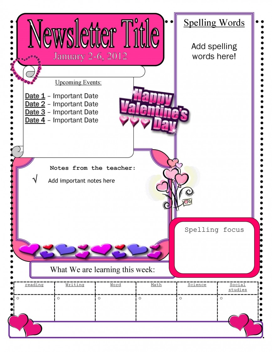 007 Stupendou Free Teacher Newsletter Template Picture  Classroom For Microsoft Word Google Doc868