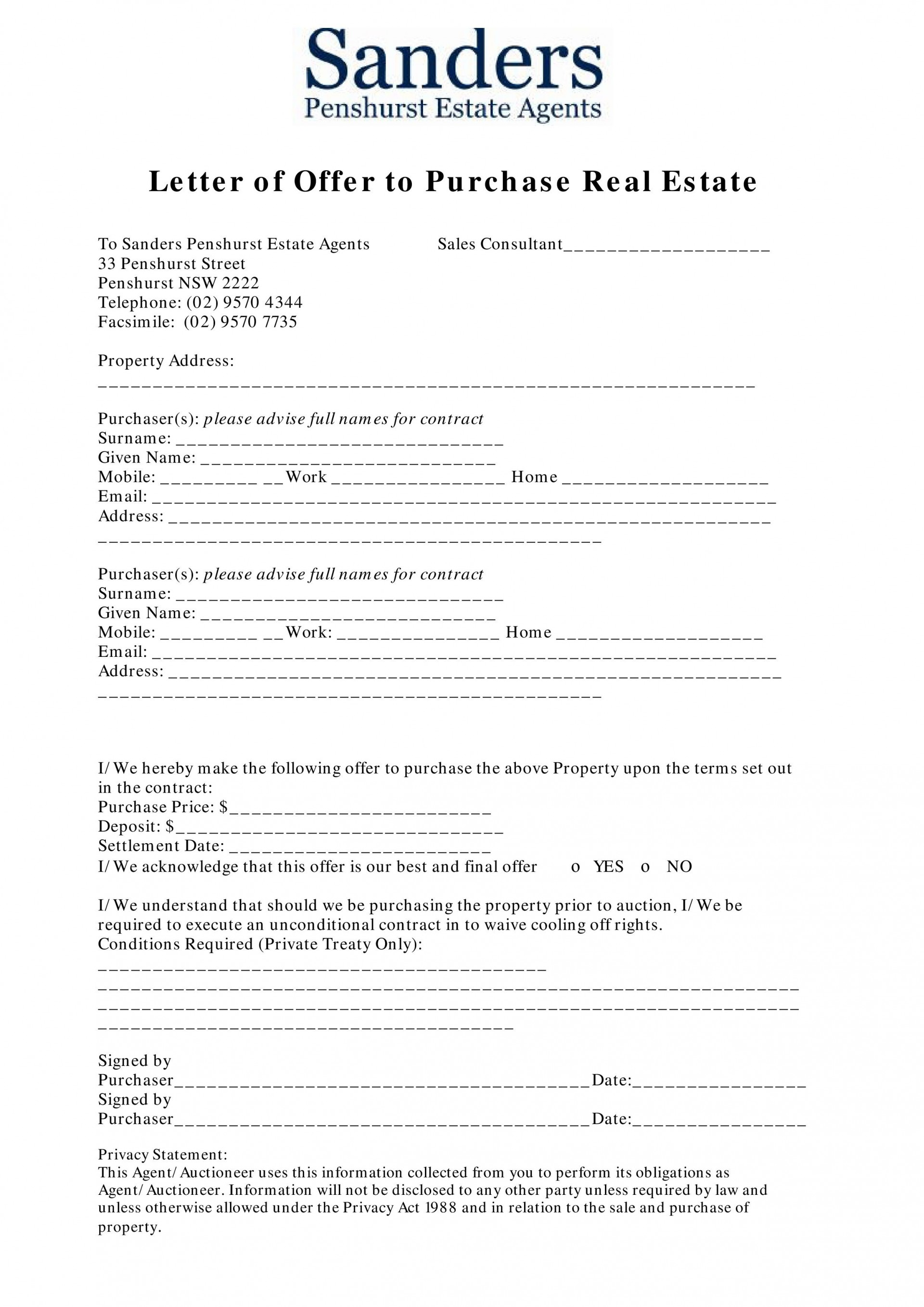007 Stupendou Home Offer Letter Template High Definition  Purchase1920