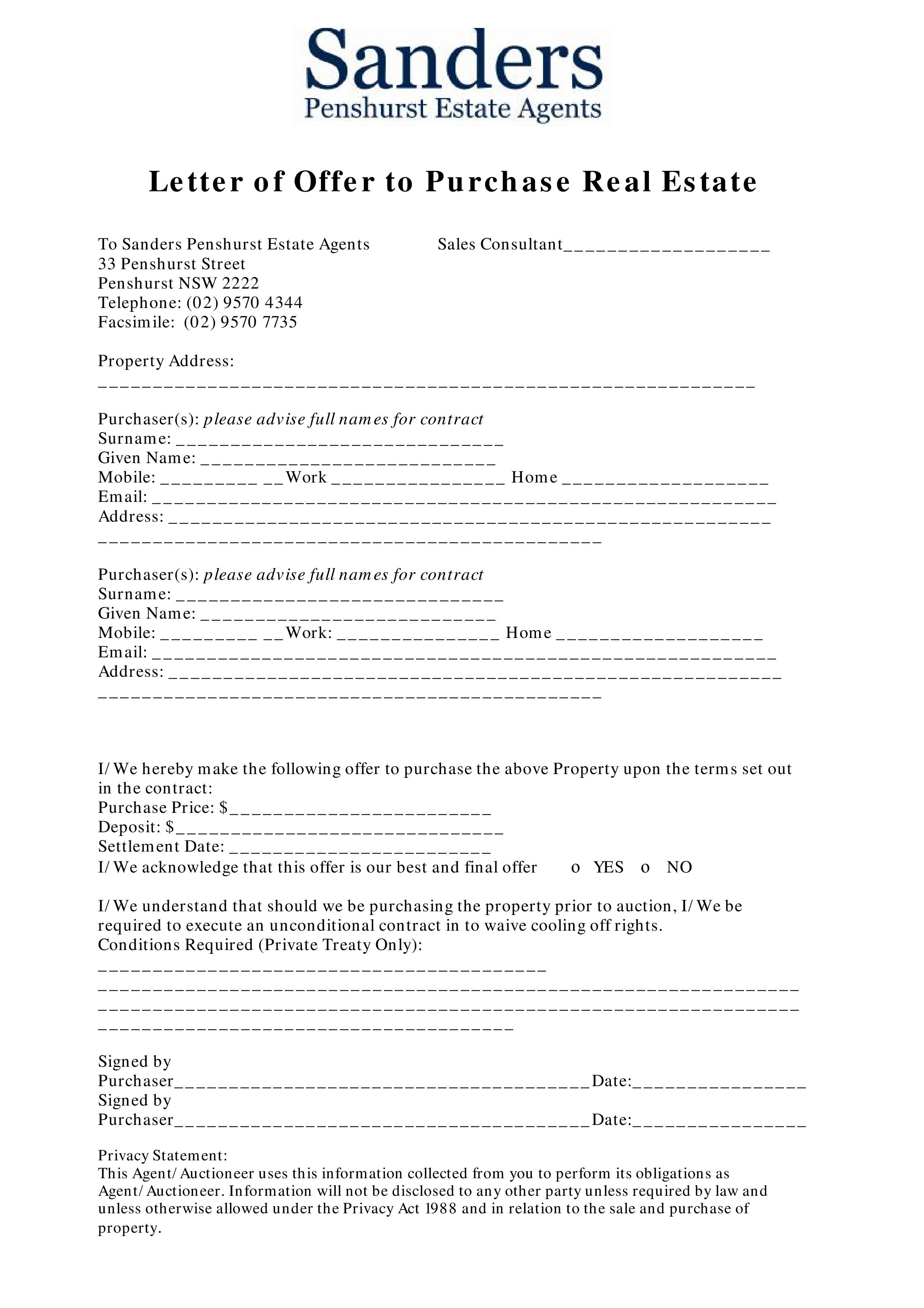 007 Stupendou Home Offer Letter Template High Definition  PurchaseFull
