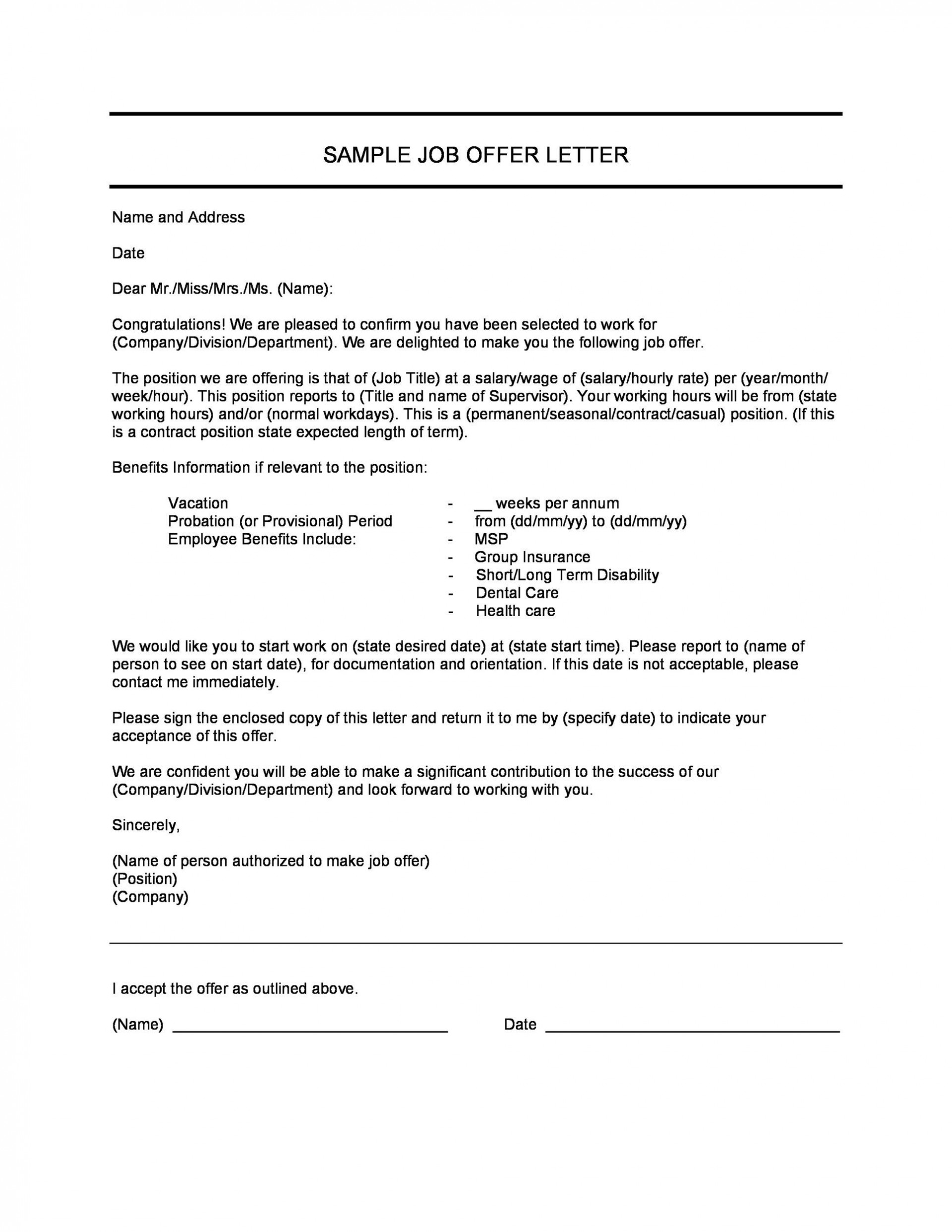 Sample Job Offer Letter Template from www.addictionary.org