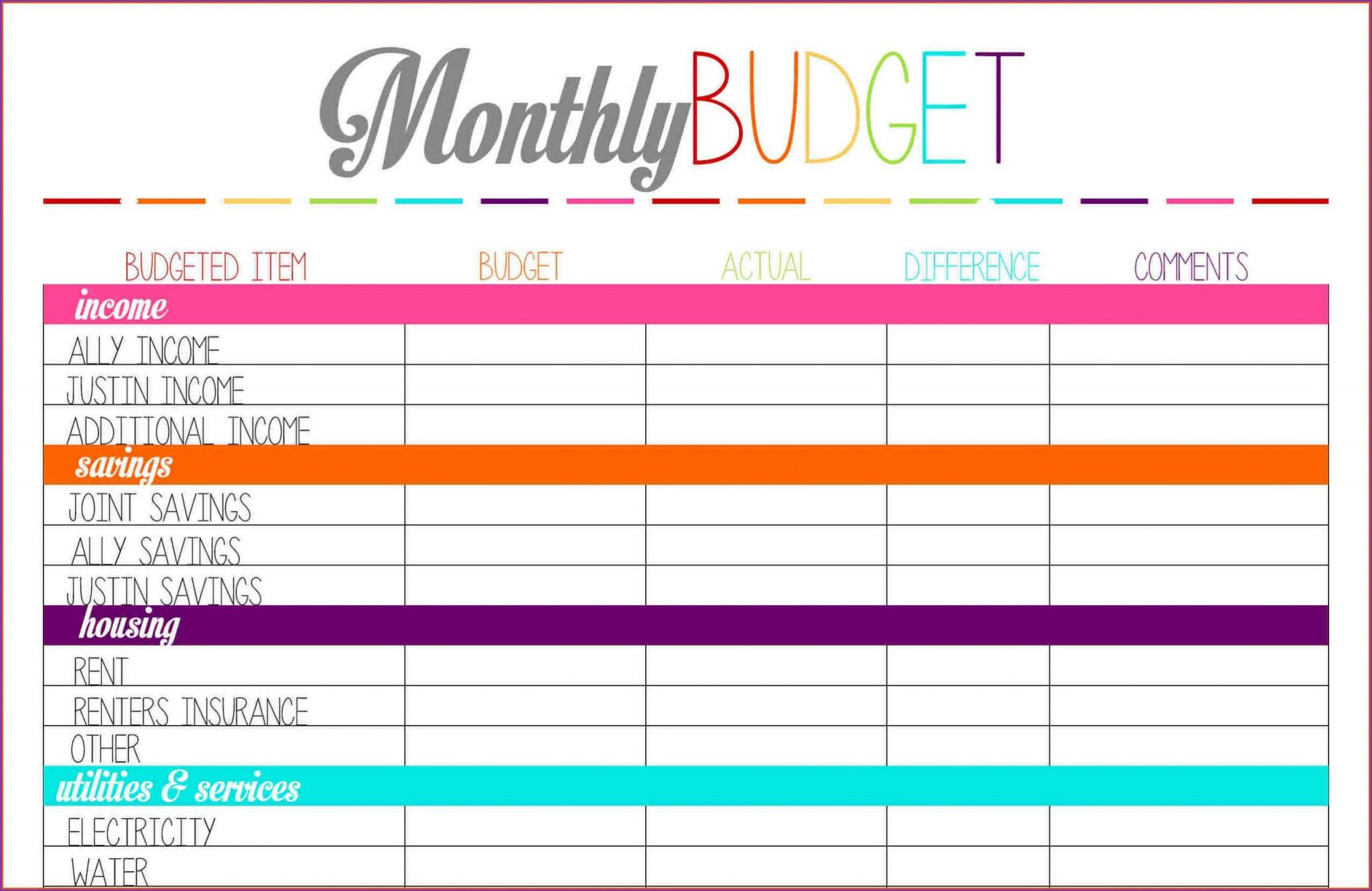 Microsoft Excel Monthly Budget Template Addictionary
