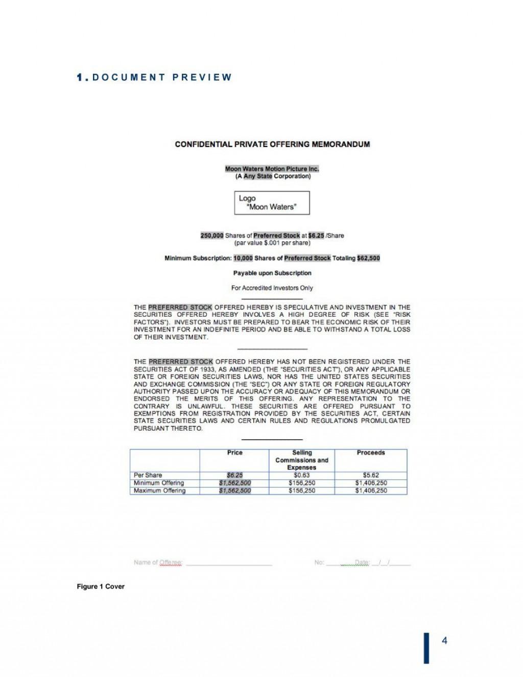 007 Stupendou Private Placement Memorandum Template Free Download Design Large