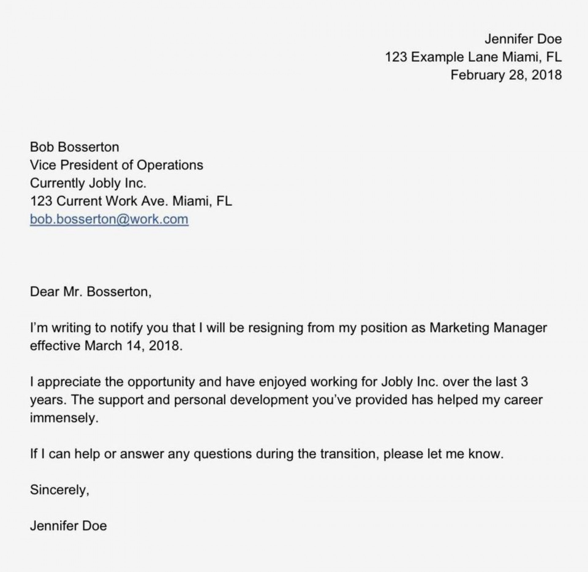 007 Stupendou Sample Resignation Letter Template Email Highest Quality 1920