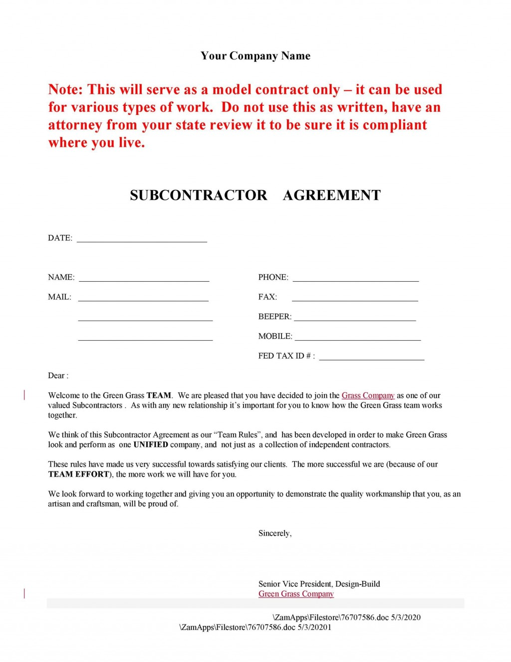 007 Stupendou Subcontractor Agreement Template Free Idea  Construction WordLarge