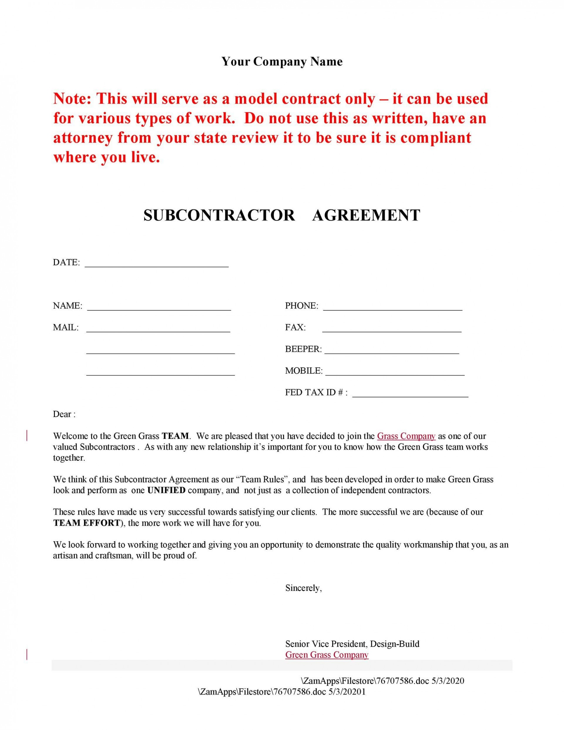 007 Stupendou Subcontractor Agreement Template Free Idea  Construction Word1920
