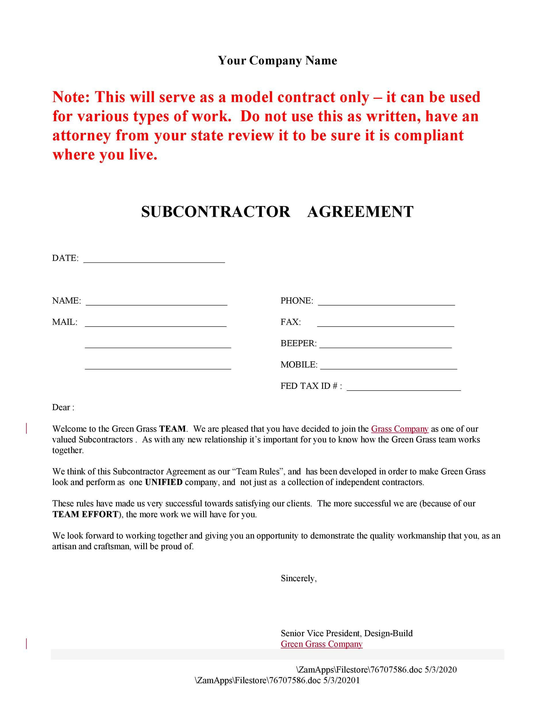 007 Stupendou Subcontractor Agreement Template Free Idea  Construction WordFull
