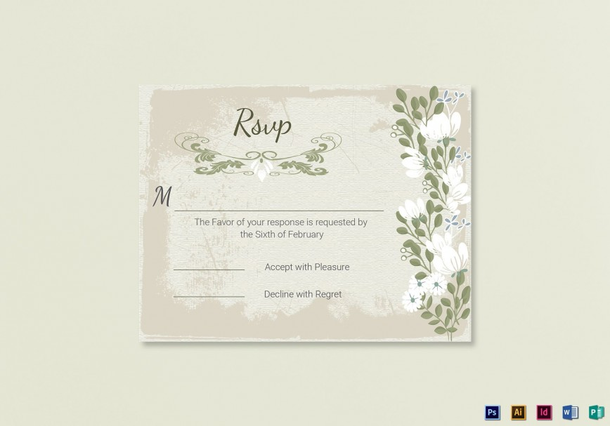 007 Stupendou Wedding Rsvp Card Template Photo  Templates Free Printable Invitation