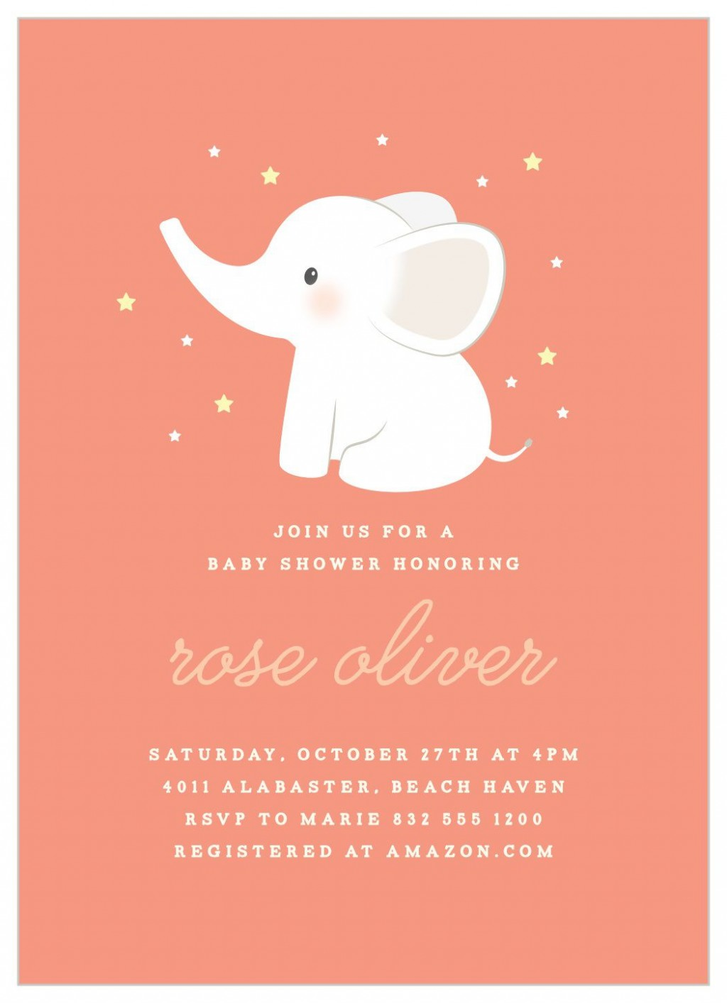 007 Surprising Baby Shower Invitation Girl Elephant Photo  Free Pink TemplateLarge