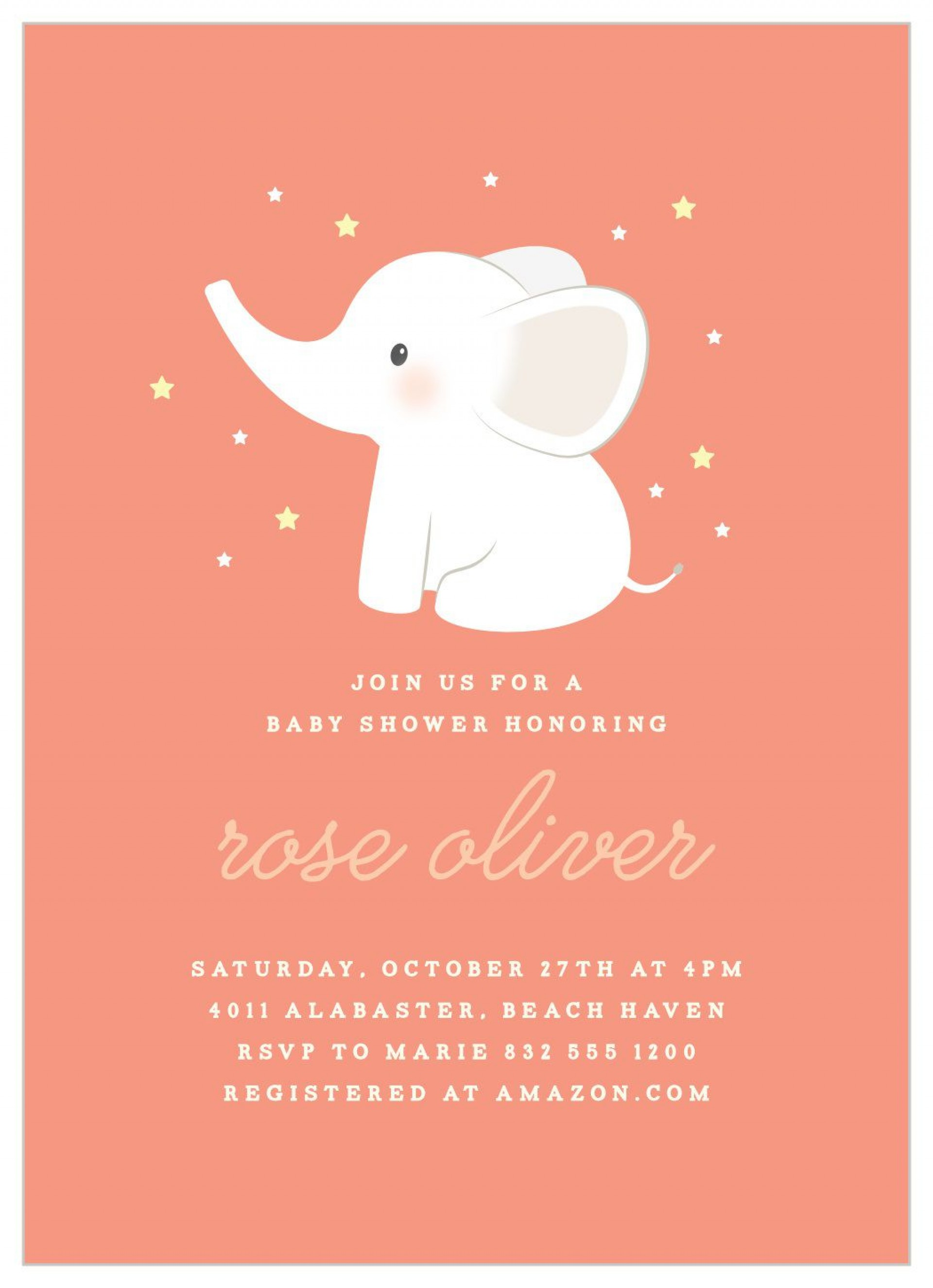 007 Surprising Baby Shower Invitation Girl Elephant Photo  Free Pink Template1920