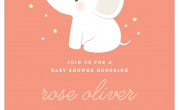 007 Surprising Baby Shower Invitation Girl Elephant Photo  Free Pink Template