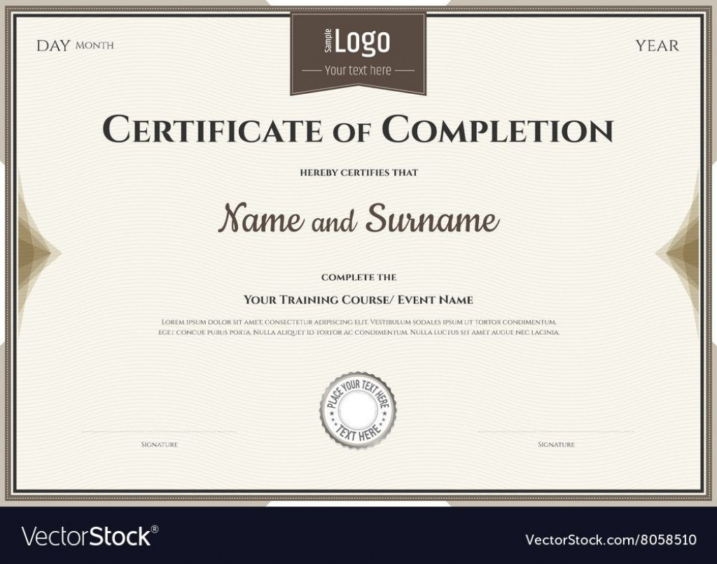 007 Surprising Certificate Of Completion Template Free Picture  Training Download WordLarge