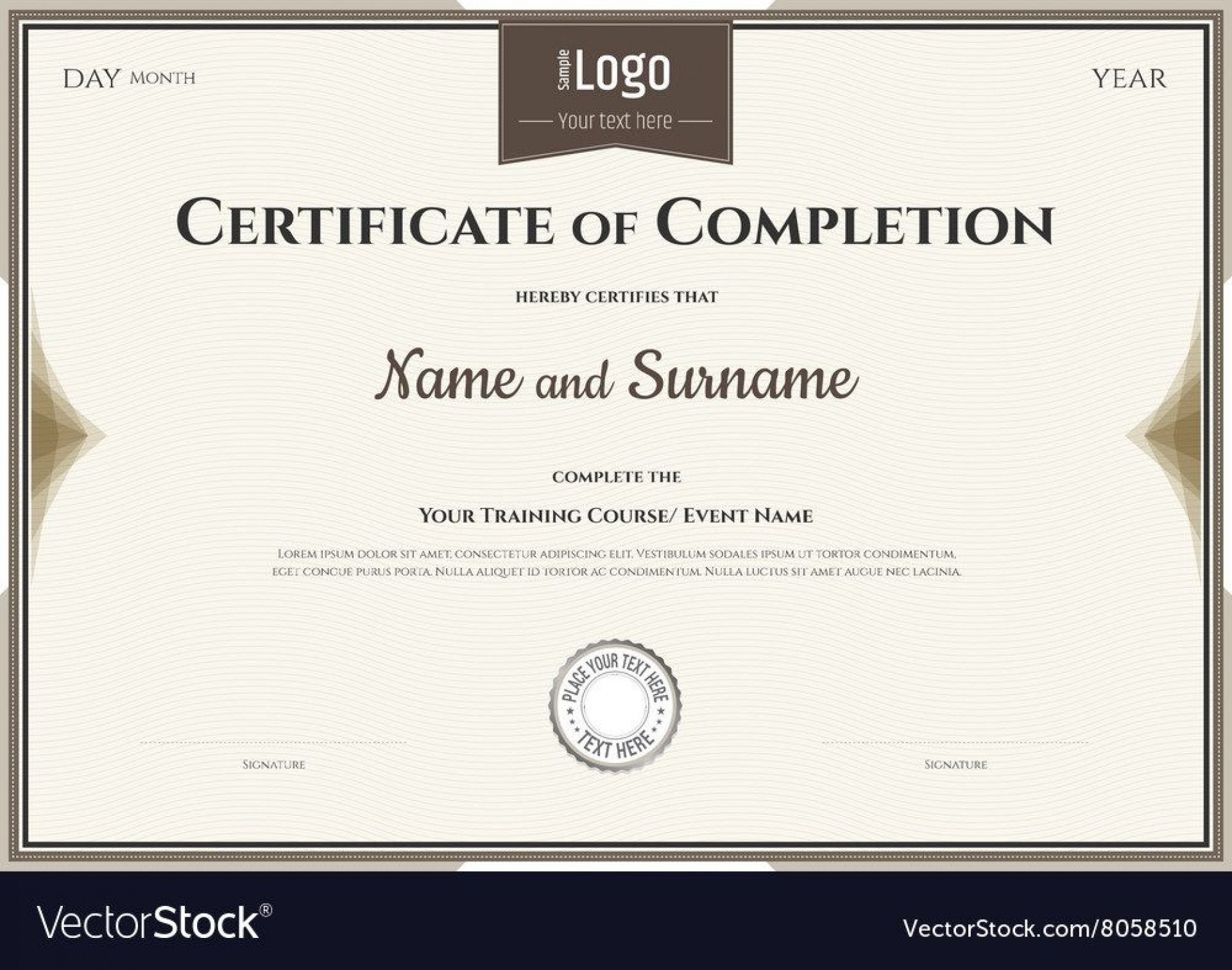 007 Surprising Certificate Of Completion Template Free Picture  Training Download Word1920