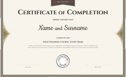 007 Surprising Certificate Of Completion Template Free Picture  Training Download Word