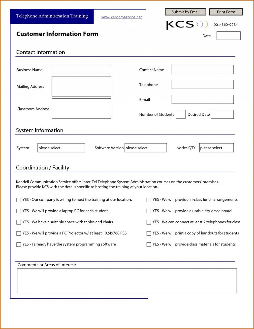 007 Surprising Customer Information Sheet Template Idea  New Info Excel SpreadsheetLarge