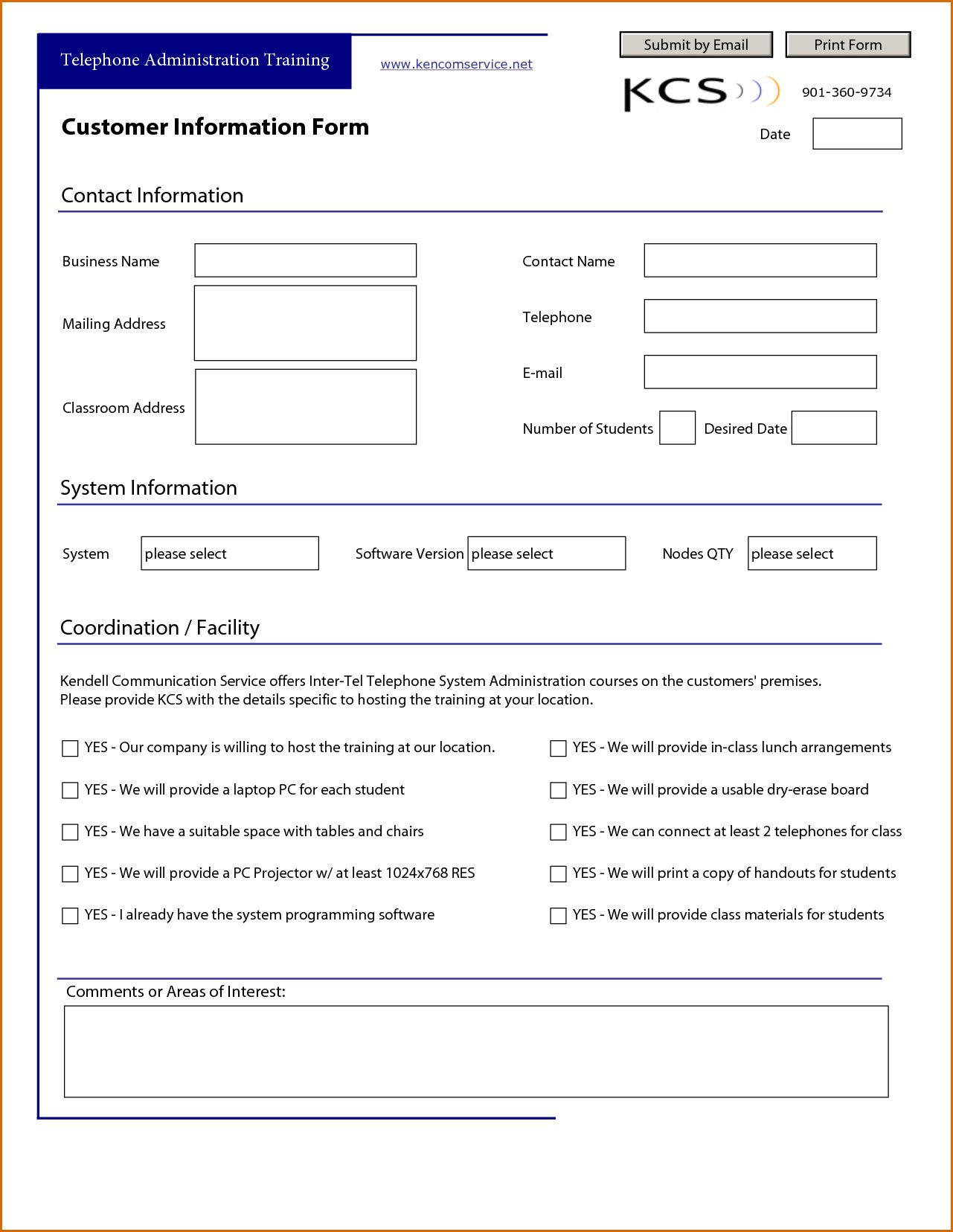 007 Surprising Customer Information Sheet Template Idea  New Info Excel SpreadsheetFull