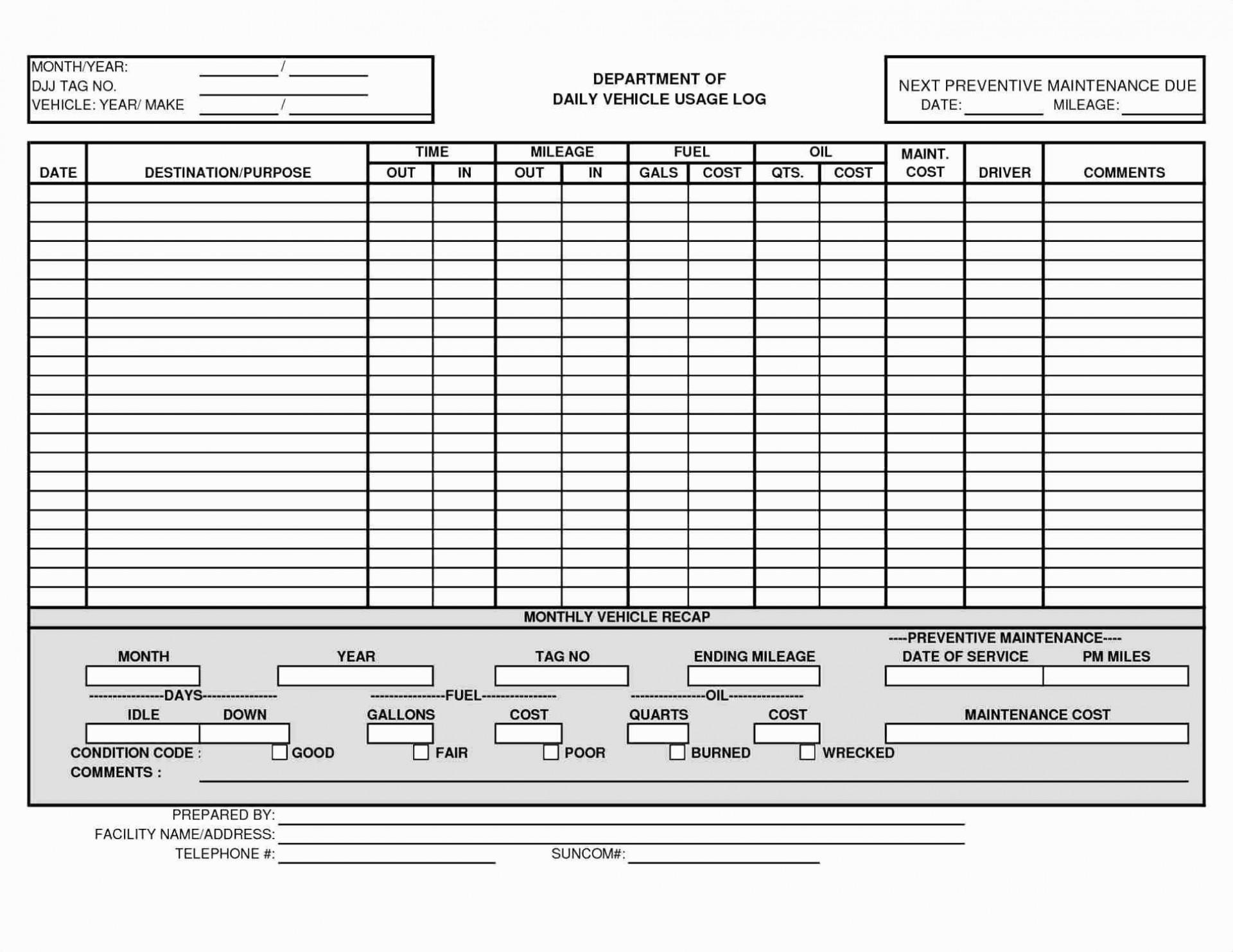 007 Surprising Fleet Vehicle Maintenance Log Template Concept  Excel1920