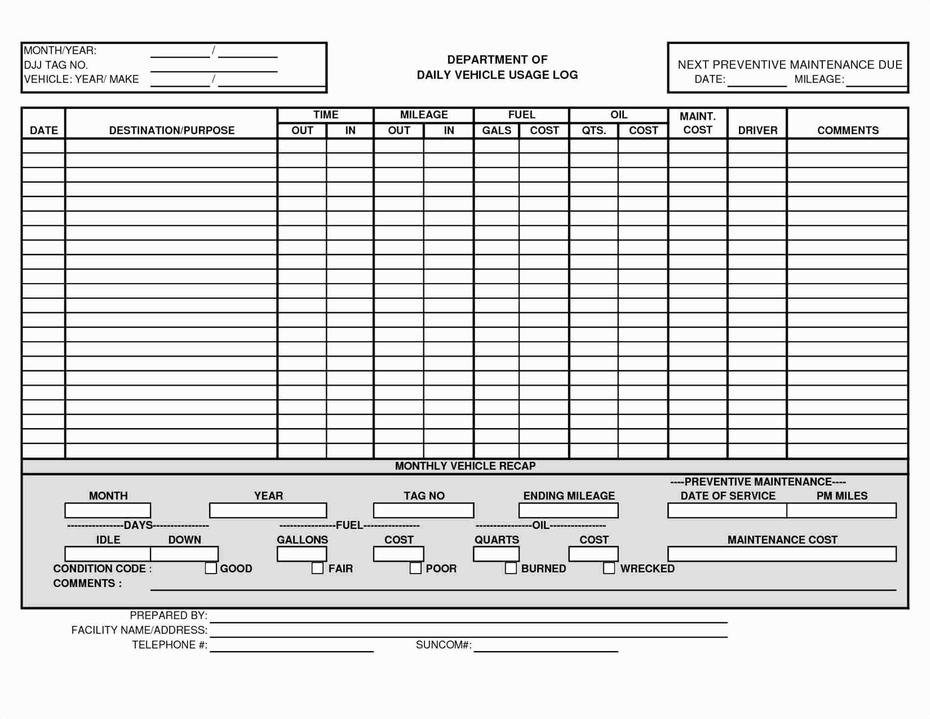 007 Surprising Fleet Vehicle Maintenance Log Template Concept  ExcelFull