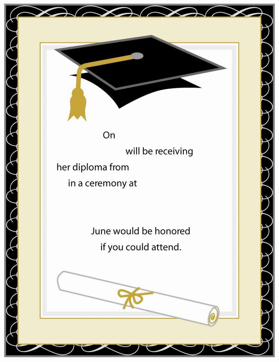 007 Surprising Free Graduation Announcement Template Example  Invitation Microsoft Word Printable Kindergarten960