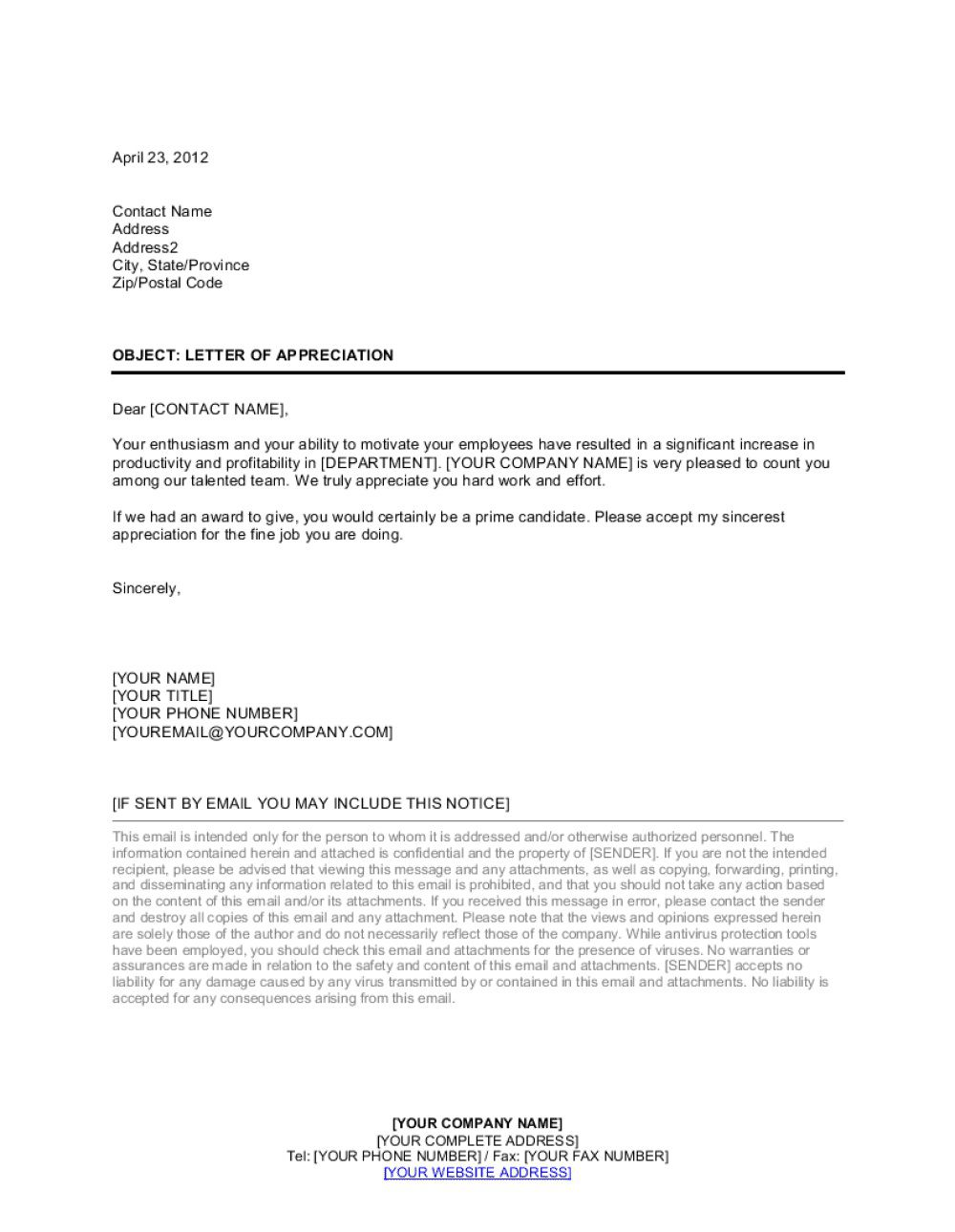 007 Surprising Letter Of Appreciation Template Inspiration  Example Employee Usmc Format For TheFull