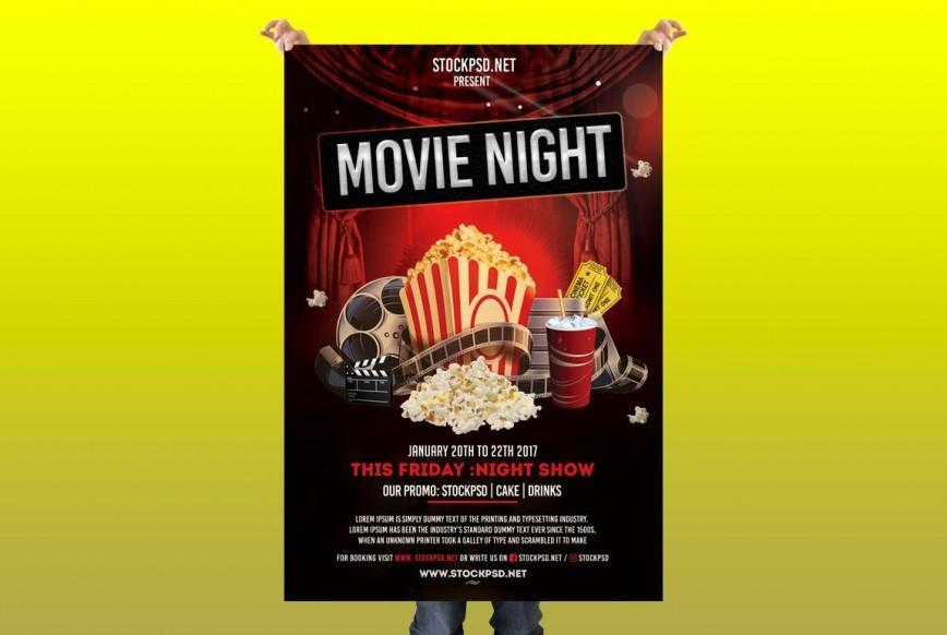 007 Surprising Movie Night Flyer Template Highest Quality  Templates School