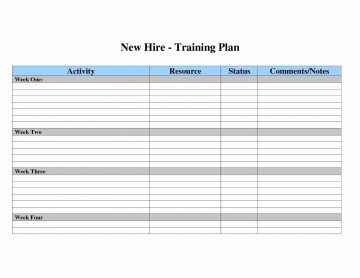 007 Surprising New Employee Training Plan Template Sample  Hire Schedule Excel360
