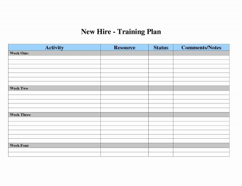 007 Surprising New Employee Training Plan Template Sample  Hire Schedule Excel480