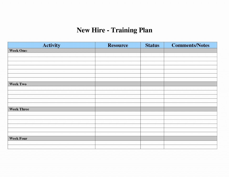 007 Surprising New Employee Training Plan Template Sample  Hire Schedule Excel960