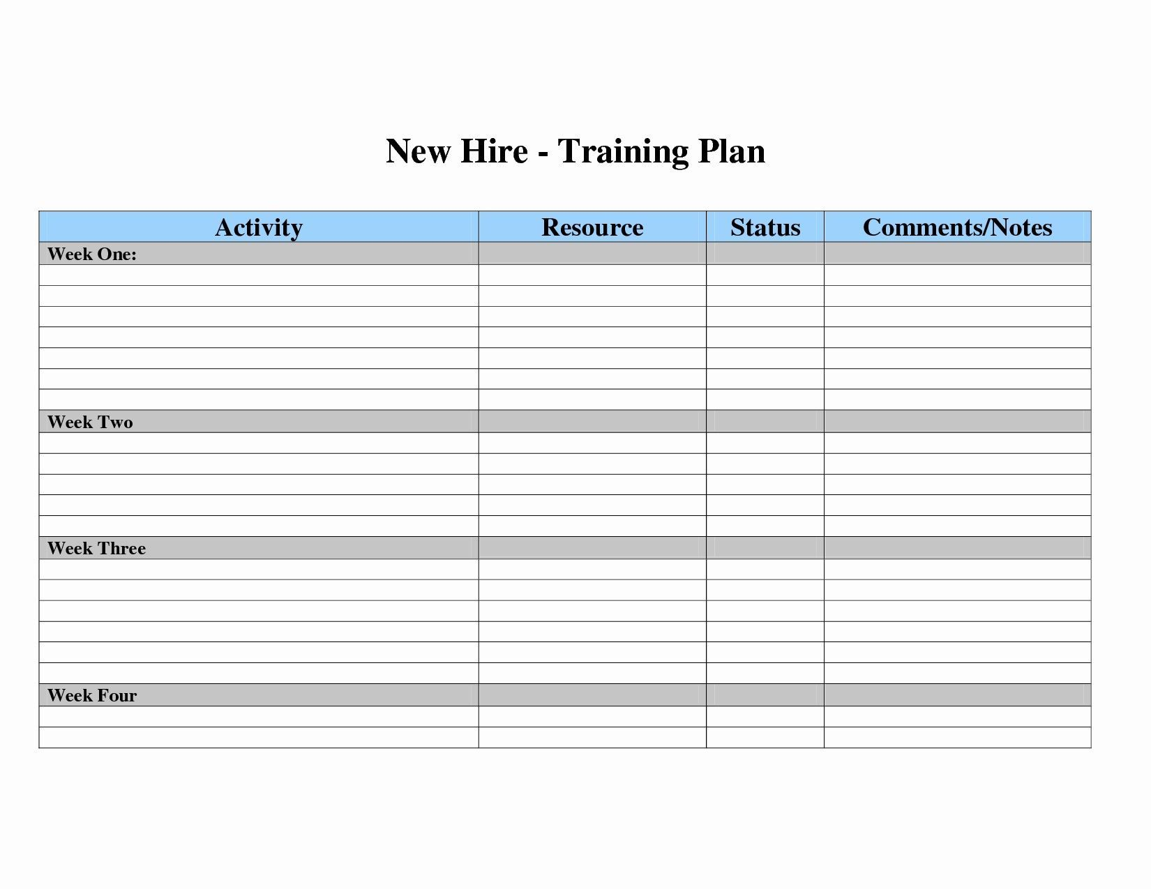 007 Surprising New Employee Training Plan Template Sample  Hire Schedule ExcelFull