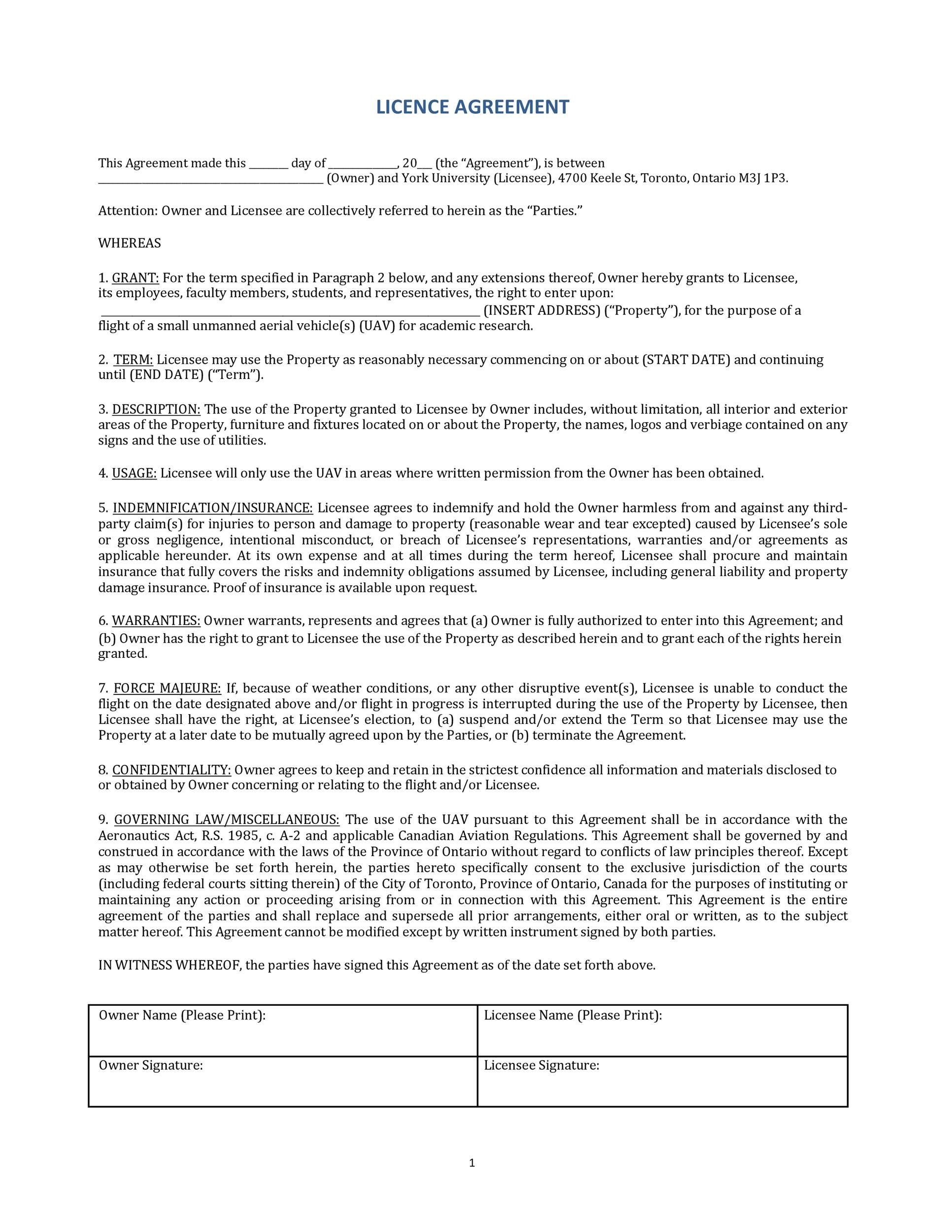 Photography License Agreement Template Addictionary
