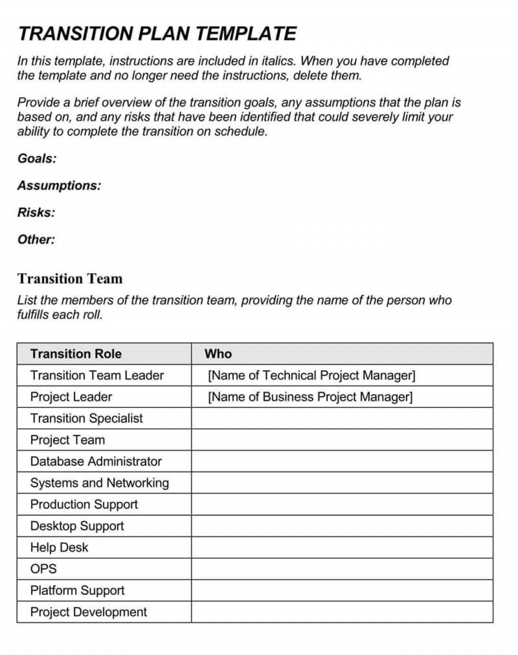 007 Surprising Project Transition Out Plan Template Picture  Xl Excel DownloadLarge