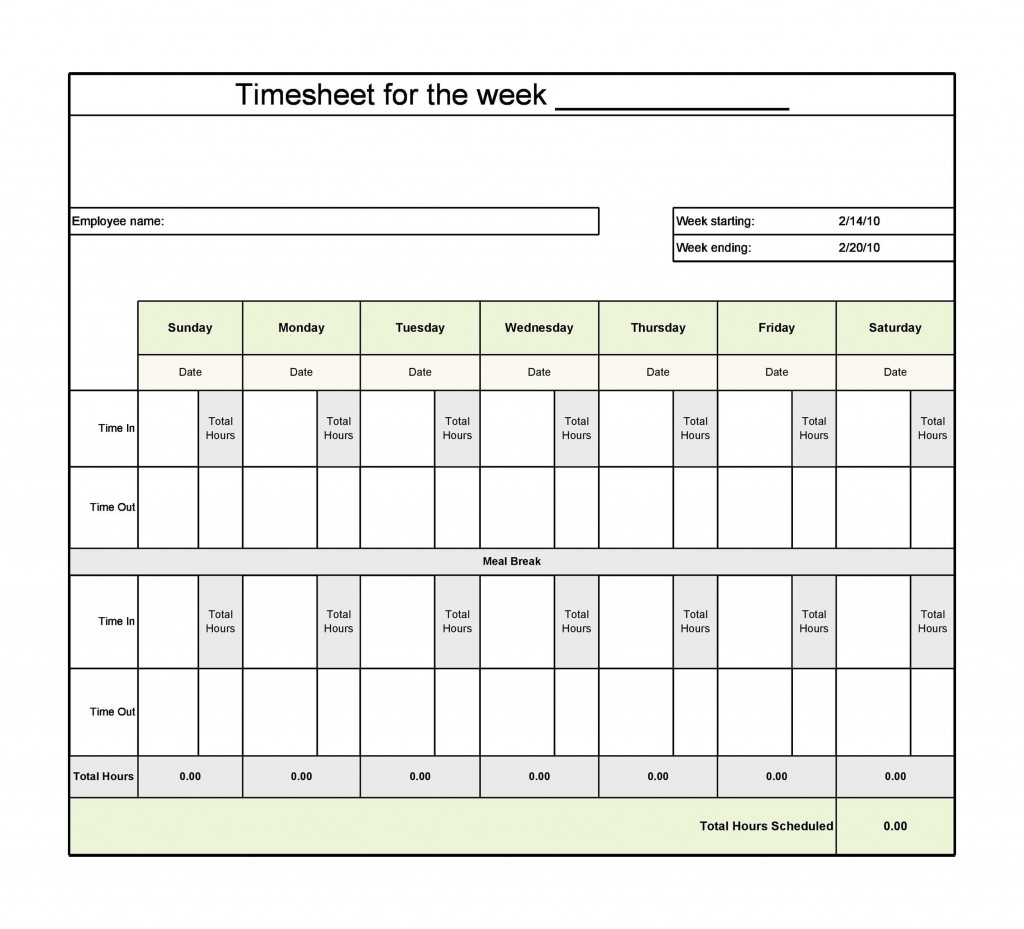 007 Surprising Weekly Timesheet Template Excel High Resolution  Simple FreeLarge